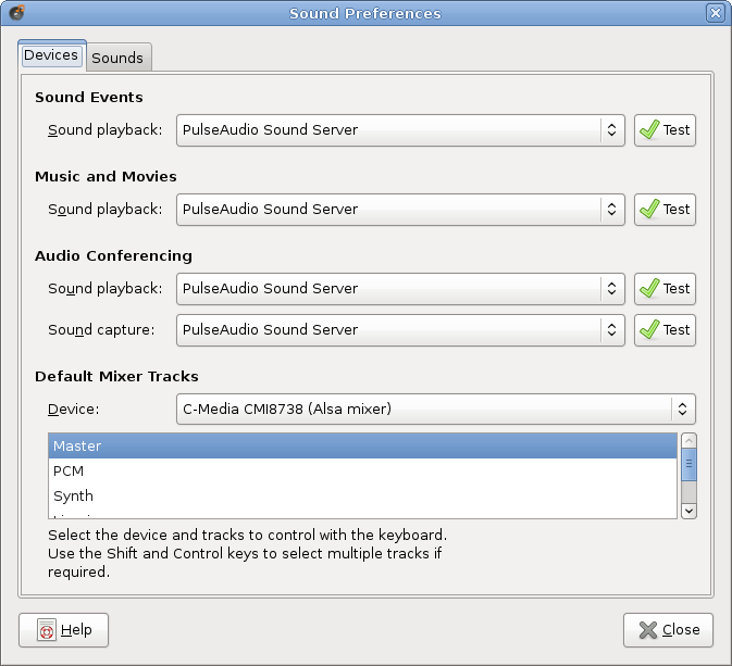 Ubuntu Sound Preferences Dialog