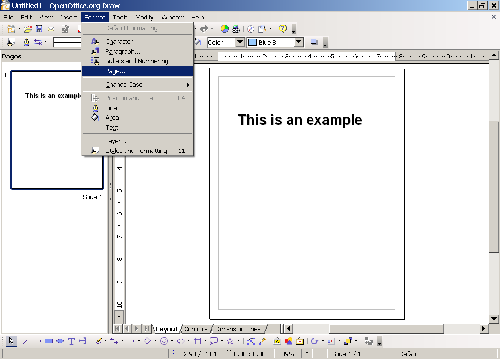 Format Menu in OpenOffice.org