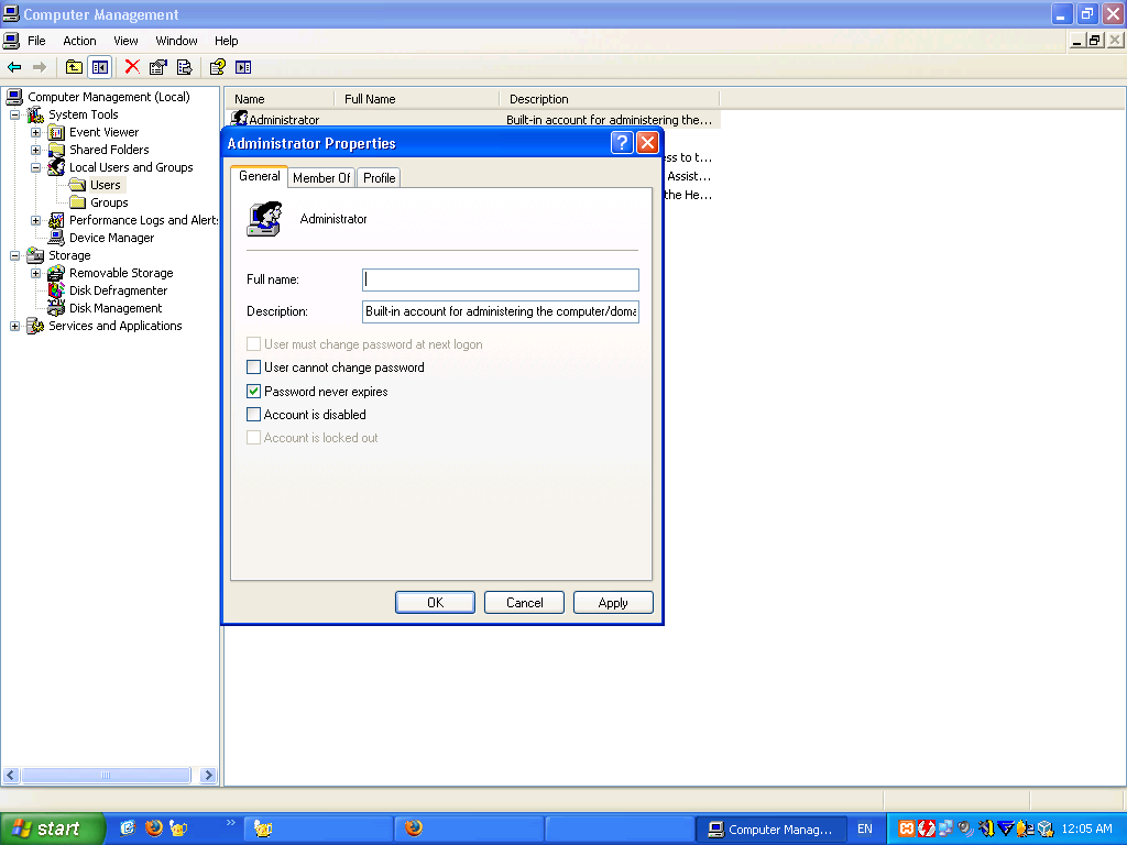 Administrator Account in Windows XP