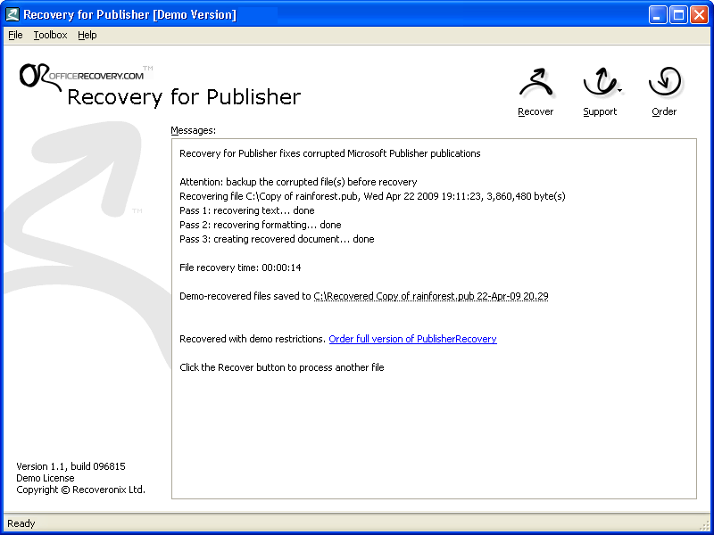 Recovery for Publisher Interface