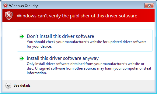 Windows Device Driver Warning